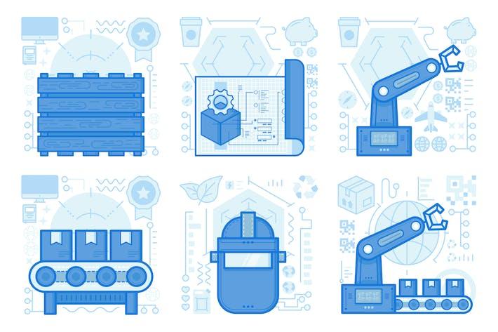 Warehouse Sorting UI UX Illustrations