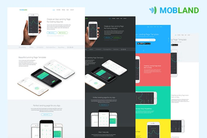 Thumbnail for Mobile App Landing Page Templates — Mobland