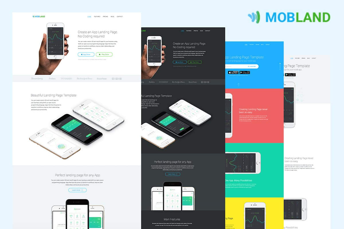 Mobile App Landing Page Templates — Mobland by surjithctly on Envato ...