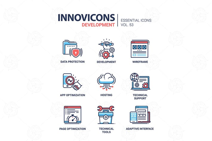 Thumbnail for Web Page Development - vector line icons set
