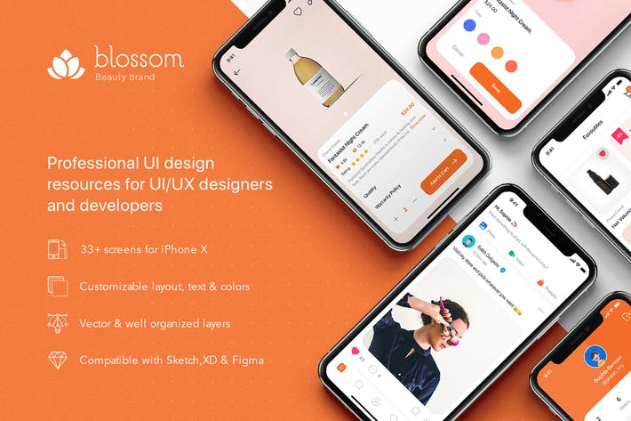 Thumbnail for Blossom - Beauty mobile UI Kit