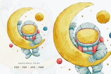 Aquarelle Mignon Astronaute Motif personnage