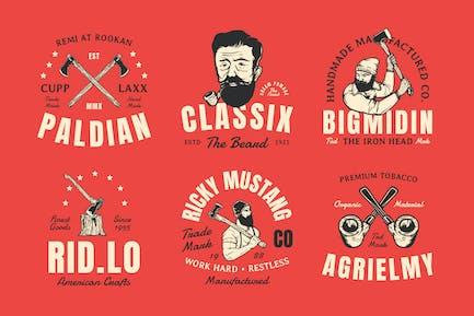 6 Vintage Gentleman & Lumberman Badges