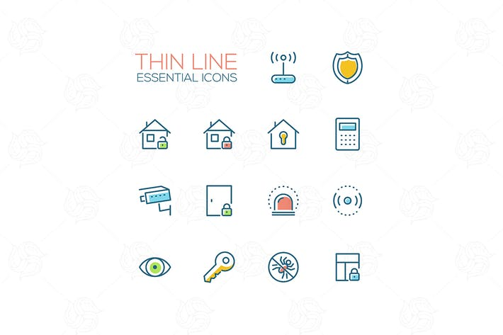 House Security - Thin Single Line Icons Set