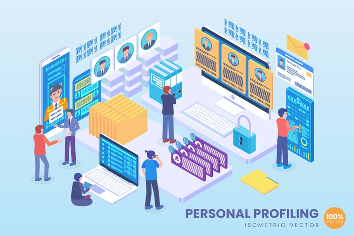 Thumbnail for Isometric Personal Profiling Vector Concept