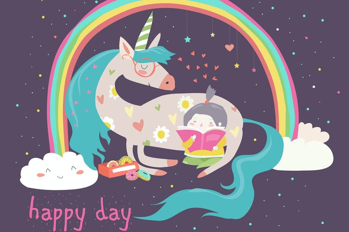 Thumbnail for Cute cartoon girl with unicorn. Vector