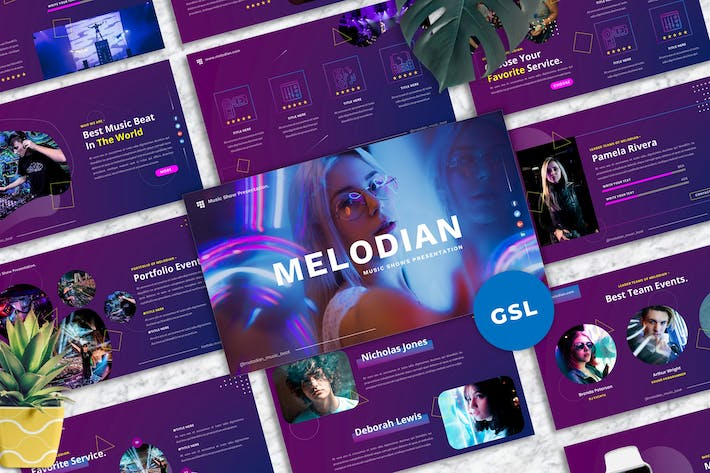 Thumbnail for Melodian - Music Industrial Googleslide Template