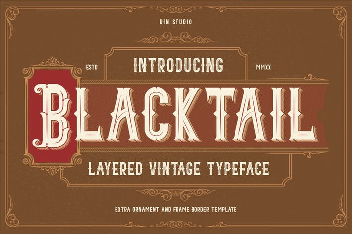 Thumbnail for Blacktail - Layered Vintage Font