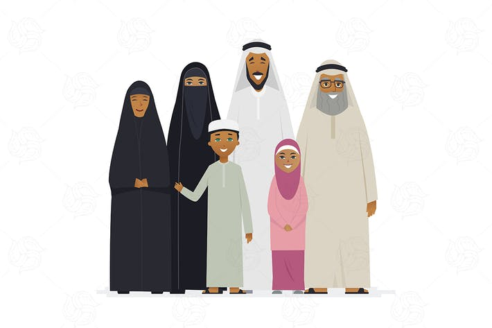 Thumbnail for Big Muslim family - vector illustration