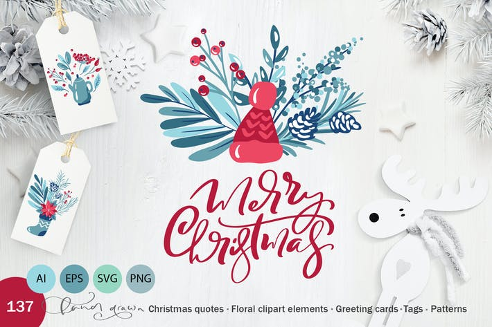 Cover Image For Christmas floral holiday elements
