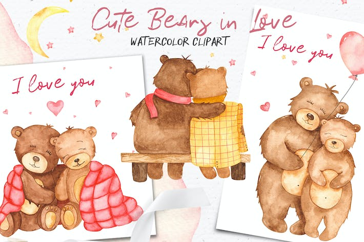 Thumbnail for Watercolor cute bears in love. Clipart and cards