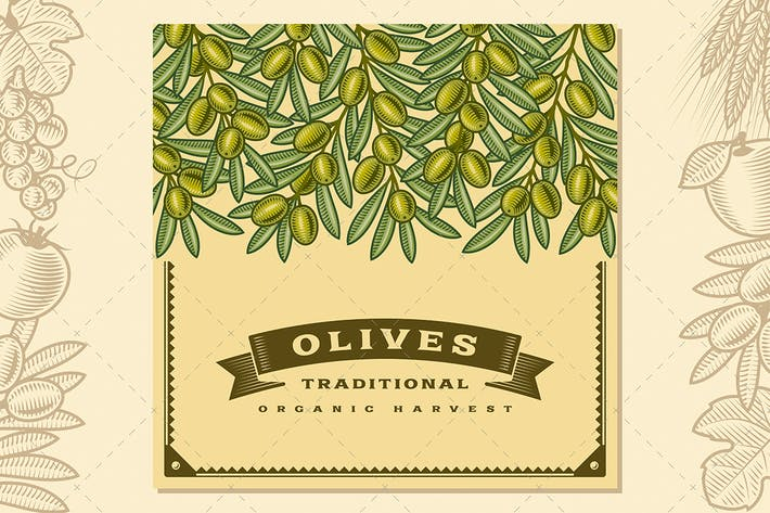 Thumbnail for Retro Olive Harvest Card