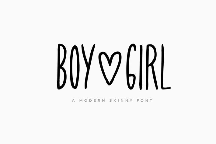 Boy and Girl Skinny Font and Extras
