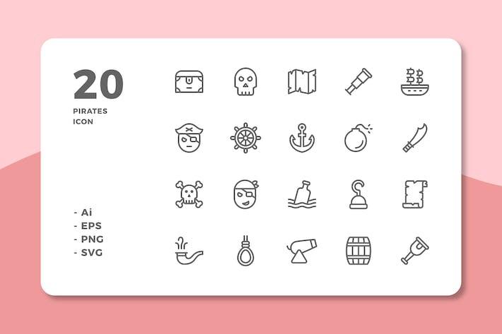 Thumbnail for 20 Icones Pirates (Ligne)