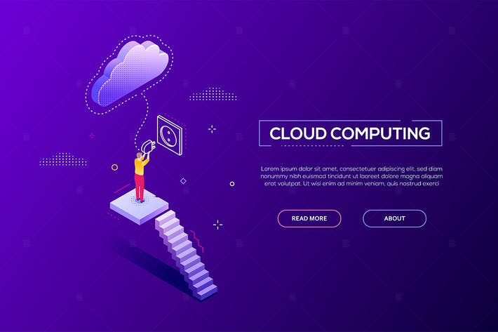 Thumbnail for Cloud computing - modern isometric web banner