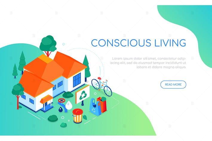 Thumbnail for Conscious living - colorful isometric web banner
