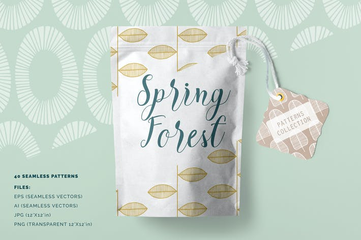 Thumbnail for Spring Forest Patterns Collection