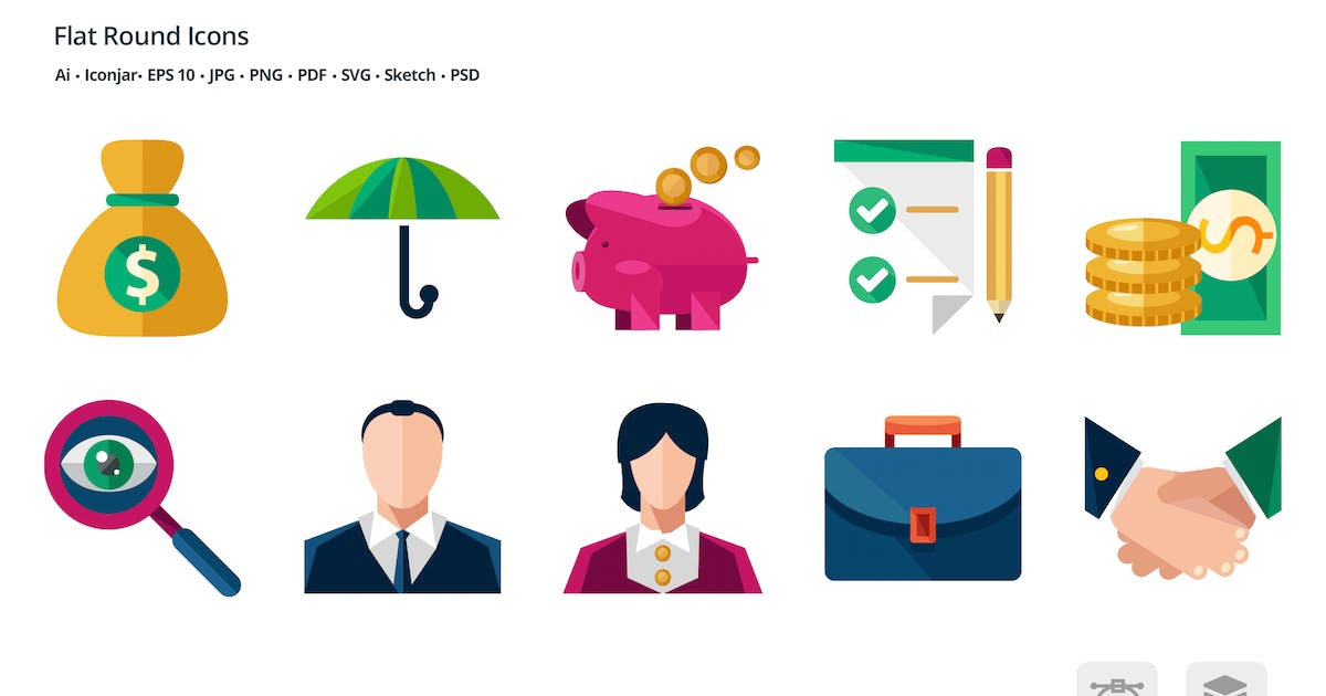 Download Business and Finance Flat Colored Icons by roundicons