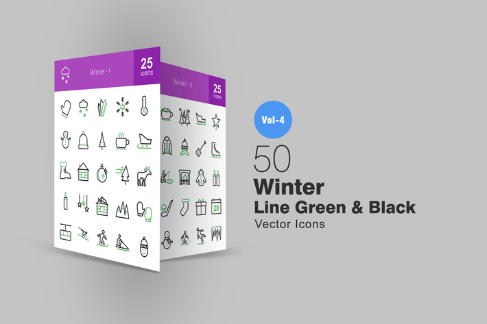 Thumbnail for 50 Winter Line Green & Black Icons