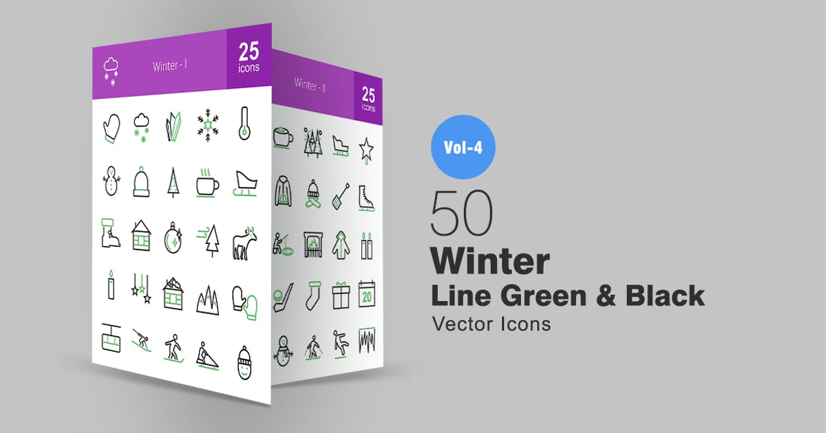 Download 50 Winter Line Green & Black Icons by IconBunny