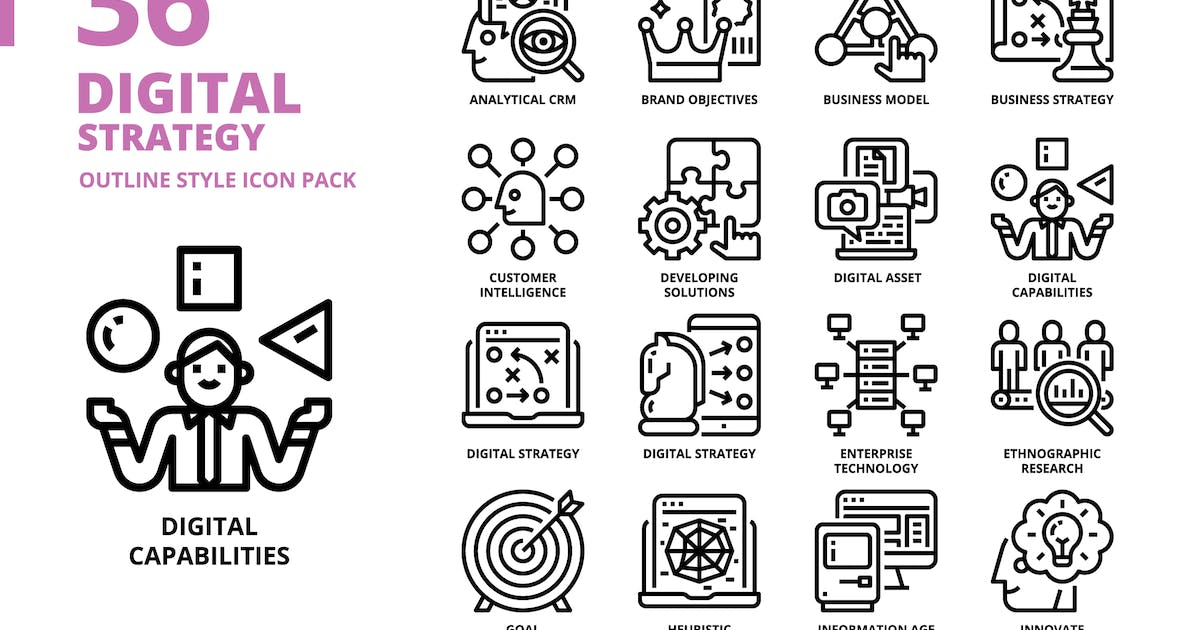 Download Digital Strategy Outline Style Icon Set by monkik