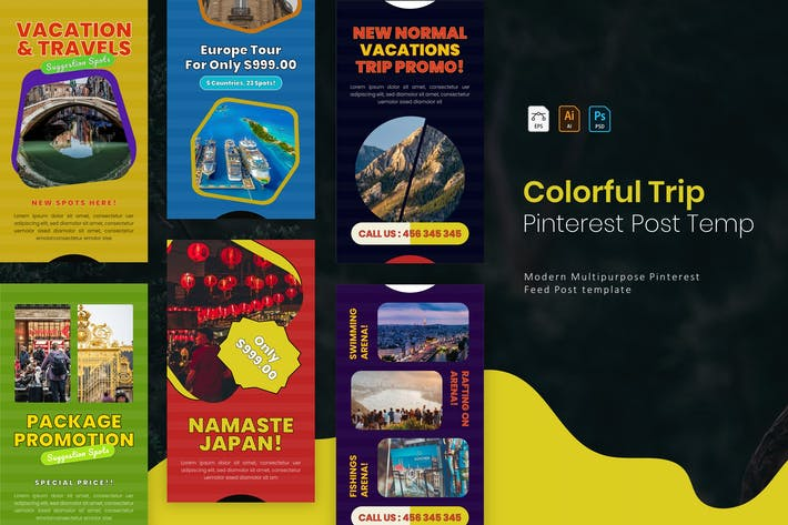 Thumbnail for Colorful Trip | Pinterest Post Template