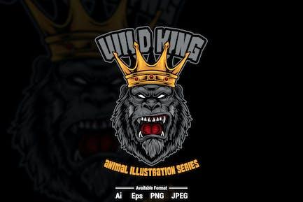 Gorilla King Vector Illustration