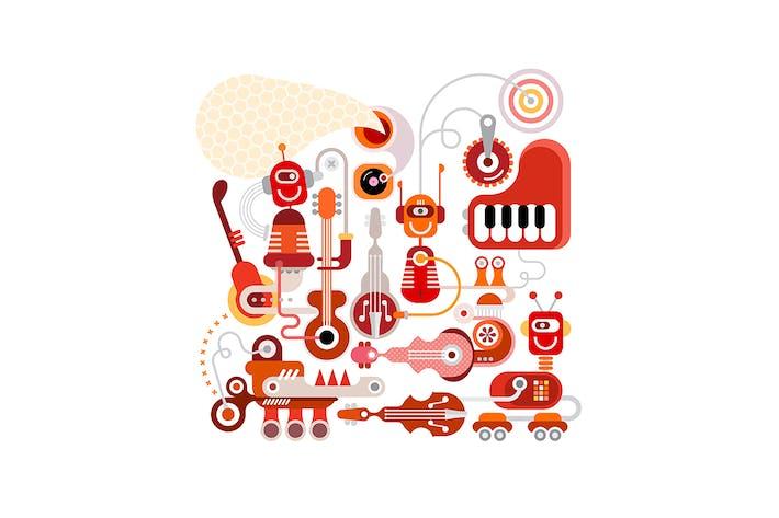 Thumbnail for Musical Robots vector illustration
