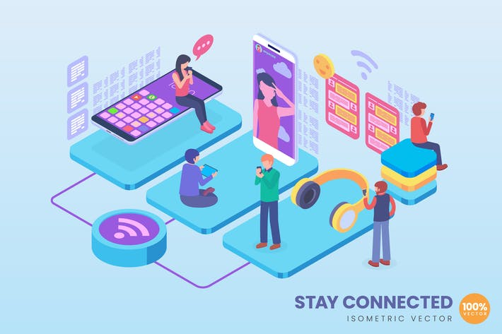 Thumbnail for Isometric Stay Connected Illustration Concept