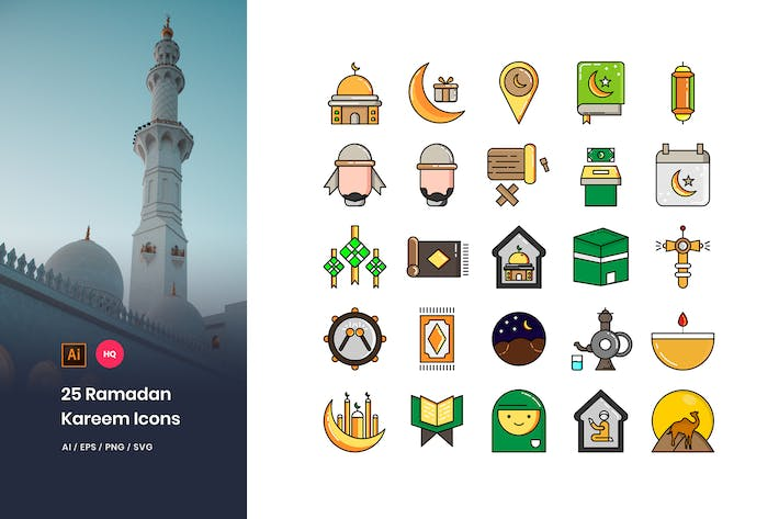 Thumbnail for 25 Ramadan Kareem Icons Pack