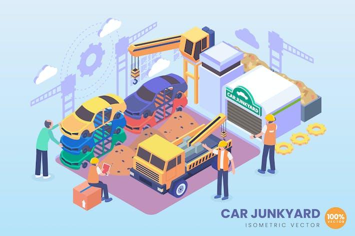 Thumbnail for Isometric Car Junkyard Vector Concept