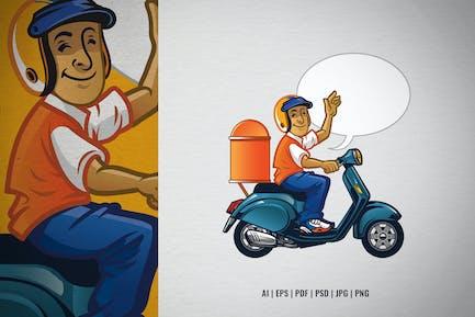 Cartoon Liefermann, der den Roller reit