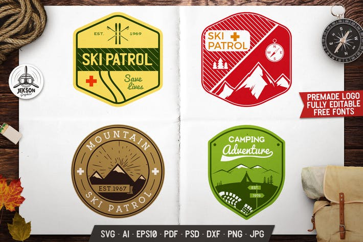 Thumbnail for 4 Mountain Ski Patrol, Retro Camping Vector Badges