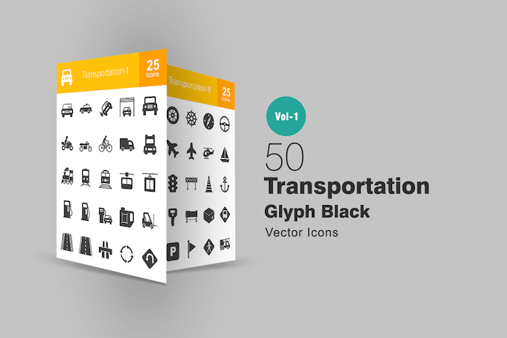 Thumbnail for 50 Transportation Glyph Icons