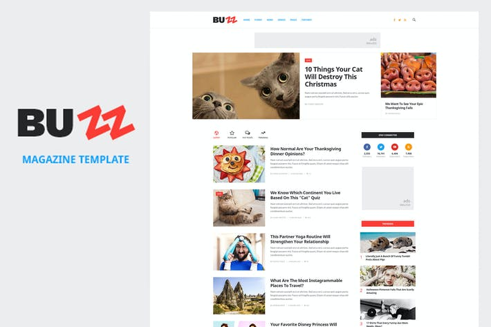 Thumbnail for BUZZ - News, Magazine, Viral & Buzz PSD Template