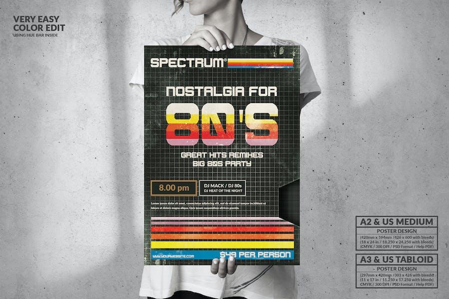 Nostalgy for 80s Big Poster Design - Music Event