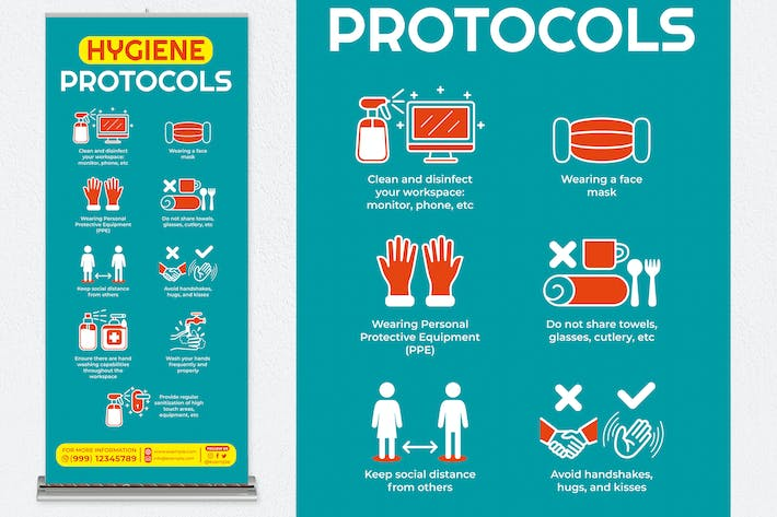 Thumbnail for Hygiene Protocols Roll Up Banner