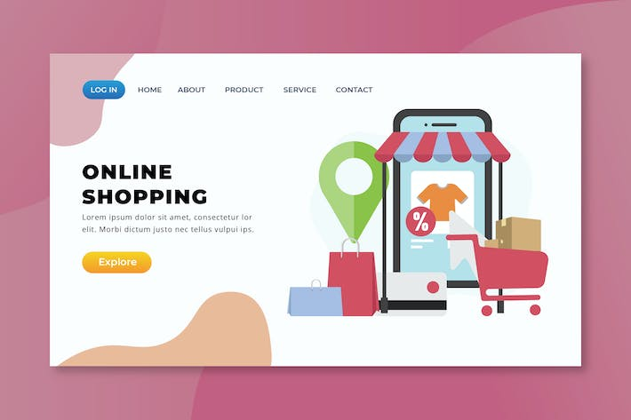 Thumbnail for Online Shopping - XD PSD AI Vector Landing Page