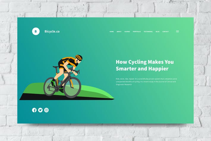 Thumbnail for Bicycle Web Header PSD and Vector Template