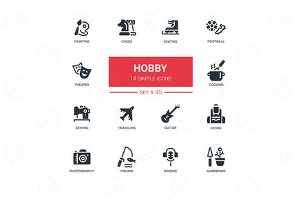 Hobby - line design icons set