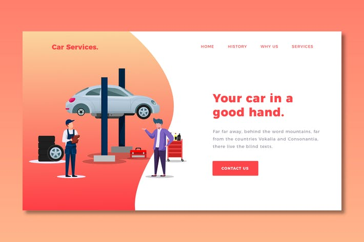 Thumbnail for Car Services - Landing Page Template