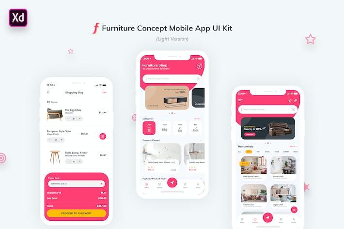 Thumbnail for Furniture App UI Kit Light Version (Adobe XD)