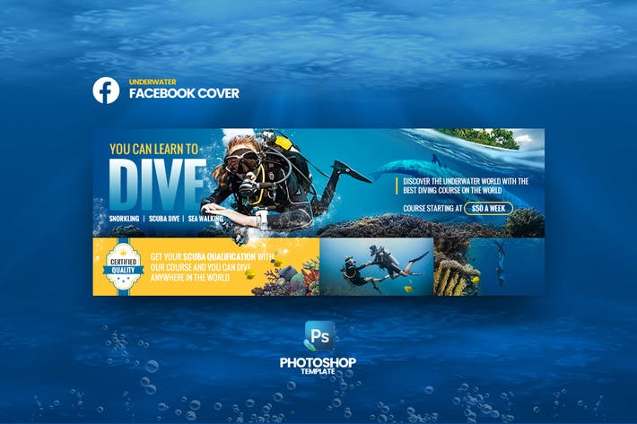 Thumbnail for Underwater Facebook Cover Photoshop Template