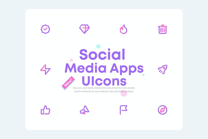 Thumbnail for UICON 2.0 - Social Media Mobile Apps, UI Icons