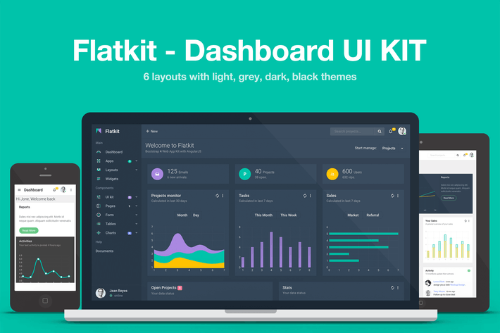 Thumbnail for Flatkit - Dashboard UI KIT