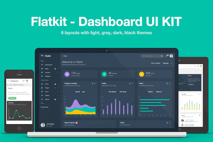 Download admin templates envato elements thumbnail for flatkit dashboard ui kit fbccfo Image collections