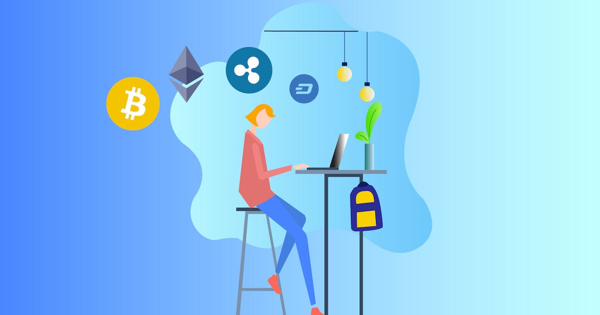 Download Cryptocurrency Research 2D Illustration by angelbi88