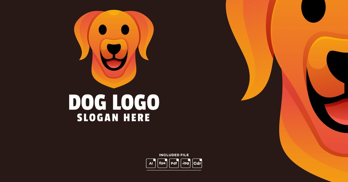 Download Dog Head Gradient Logo Template by yuanesei