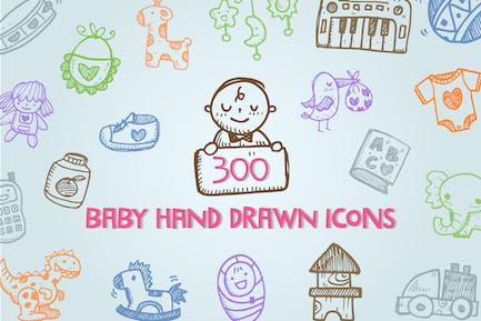 Icones dessinées à la main de bébé