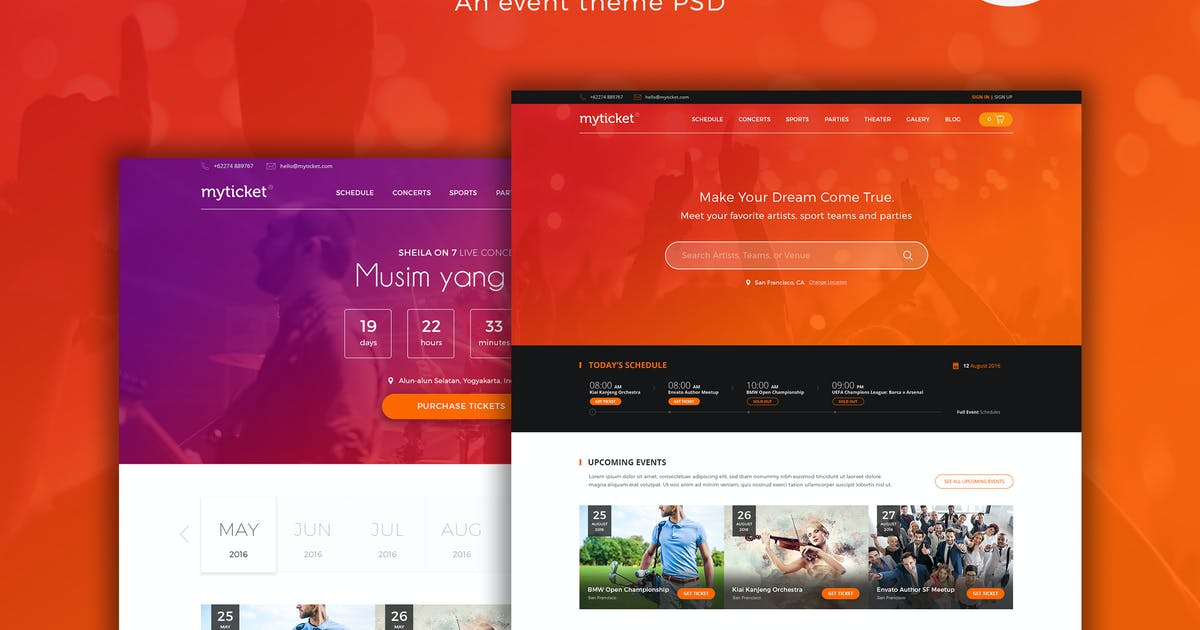 Download MyTicket - an Event Theme PSD by Unknow